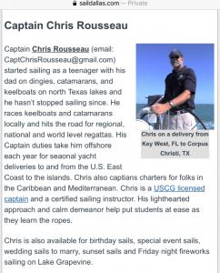 captain chris rousseau grapevine lake sailing club 2